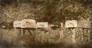 Vintage Mailboxes Stock Photo