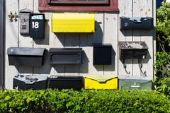 Vintage Mailboxes. Rockport Harbor in MA USA Royalty Free Stock Photography