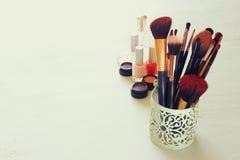 Vintage Make Up set. filtered image. Stock Photos