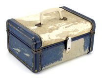 Vintage Makeup Suitcase on White. Generic Vintage Train Case from the 1950s Royalty Free Stock Photos