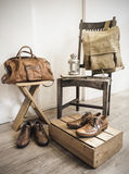 Vintage male accessories.Leather bags and leather shoes Royalty Free Stock Image
