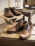 Vintage male accessories.Leather shoes. Stock Photos