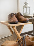 Vintage male accessories.Leather shoes. Stock Images