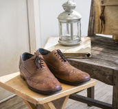Vintage male accessories.Leather shoes. Royalty Free Stock Photo