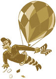 Vintage Male Acrobat with Balloon and Flag. Bully! Why its a rather dashing chap with a handlebar mustache, swinging from a trapeze under a balloon. From his royalty free illustration