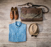 Vintage male clothing and accessories on the wooden background Royalty Free Stock Photos