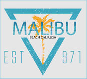 Vintage Malibu beach sport typography; t-shirt graphic; vector i Stock Photo