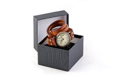 Vintage man clock in gift box on white. Background Royalty Free Stock Photography