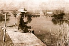 Vintage Man Fishing, Nostalgia, Fisherman Stock Image