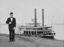 Vintage Man Portrait, Riverboat Stock Images