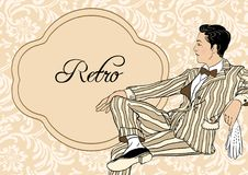Vintage man: Retro party invitation design template. Vector illustration. 1920s style Royalty Free Stock Photo