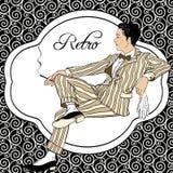 Vintage man: Retro party invitation design. Vector illustration. 1920s style.  Royalty Free Stock Photo