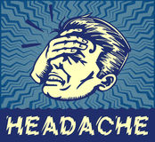 Vintage man suffering painful headache vector clipart illustration Stock Photo