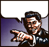 Vintage Man Talking With Pointing Finger Comic Book Style Pop Art Illustration Royalty Free Stock Photos