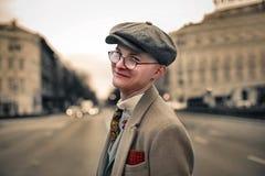 Vintage man. Walking down the street Royalty Free Stock Image