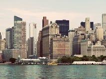 Vintage Manhattan Skyline Royalty Free Stock Images