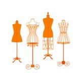 Vintage Mannequin or Dummies Color Set Flat. Vector Stock Image