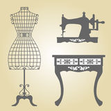 Vintage Mannequin and Sewing Machine Vector Royalty Free Stock Images