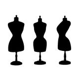 Vintage mannequins. Vector silhouettes. Stock Image