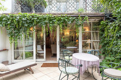 Vintage mansion - veranda. Vintage mansion - a cosy veranda with an ivy Royalty Free Stock Photography