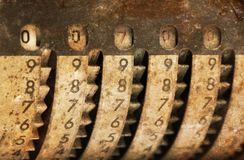 Vintage manual adding machine isolated - 700 stock photo