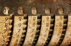 Vintage manual adding machine isolated - 200 royalty free stock photography