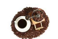 Top view Coffee cup and beans Royalty Free Stock Photos