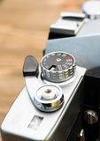 Vintage Manual Focus 35mm SLR Camera Wind Lever Viewfinder. Close up macro view vintage manual focus and wind slr camera stock photo