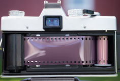 Vintage Manual Focus 35mm SLR Film Camera Back Opened Loading Royalty Free Stock Image