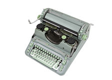 Vintage Manual Green Typewriter Isolated Stock Photo