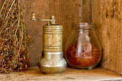 Vintage manual spice grinder Royalty Free Stock Photos