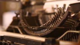Vintage Manual Typewriter close up stock video