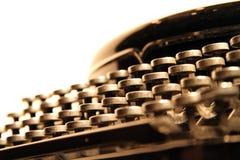 Vintage manual typewriter keyboard. A side shot of an old manual typewriter keyboard royalty free stock photos