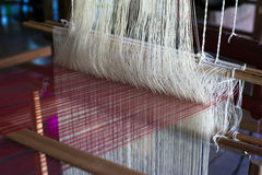 Vintage manual weaving loom Royalty Free Stock Photos