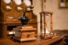 Vintage manual wooden coffee grinder Royalty Free Stock Images
