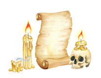 Vintage Manuscript Scroll, Burning Candles and Skull. Watercolor illustration Stock Images