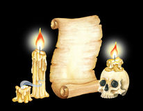 Vintage Manuscript Scroll, Burning Candles and Skull. Watercolor illustration Stock Photography