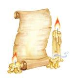 Vintage Manuscript Scroll, Vintage Manuscript Scroll, Burning Candles. Watercolor illustration. Halloween Party Watercolor Illustration. Old Map Stock Photo