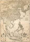 Vintage map. Ancient map of east Asia from 1786 Stock Image