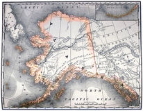 Vintage map of Alaska. Vintage original map of Alaska, line-colored, dated 1889 stock image