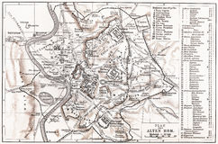 Vintage map of Ancient Rome Stock Photo
