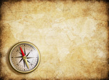 Vintage map background with compass Stock Photography