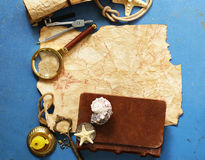 Vintage map, compass, magnifier - adventure and treasure Stock Image