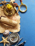 Vintage map, compass, magnifier - adventure and treasure Royalty Free Stock Photography
