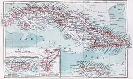 Vintage map of Cuba and Jamaica at the beginning o. F 20th century. Picture from an 100 years old encyclopedia book stock images