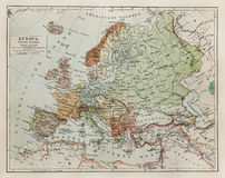 Vintage map of Europe at the end of 19th century Royalty Free Stock Images