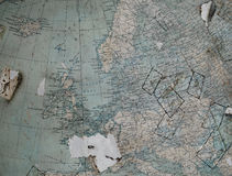 Vintage map (fragment of the globe) of the old Western Europe in Stock Images