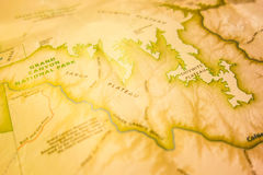 Vintage map of grand national park and surroundings Royalty Free Stock Photo