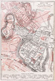 Vintage map of the Imperial forums of Rome Royalty Free Stock Photo