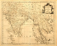 Vintage Map of India and SE Asia. vector illustration
